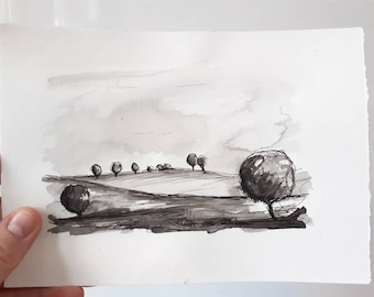 Black and White landscape drawing on paper