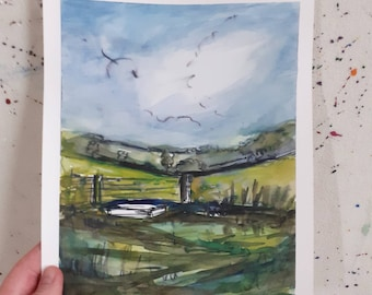 Dorset Countryside Landscape Acrylic Painting on Paper