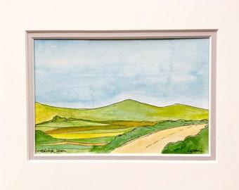 Colourful Devon landscape in watercolour