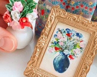 Miniature dollshouse painting, framed artwork of a vase of flowers. Scale 1:12