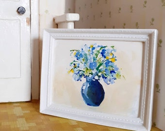 Original Miniature dollshouse painting of a Vase of Blue Flowers in Classic White Frame. 1:12 Scale