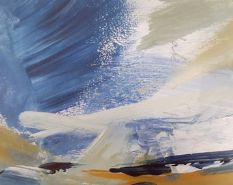 Small Abstract Acrylic Painting on Card. Seascape Inspired. Postcard Size.