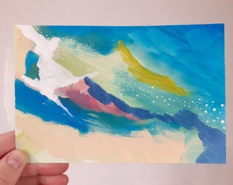 Small Colourful Abstract Acrylic Painting on Paper.