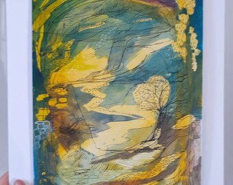 Original Abstract Landscape Painting, Watercolour on Paper