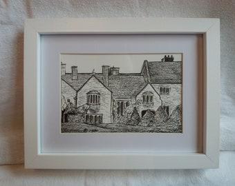 Framed sketch of Lytes Cary manor, Somerset