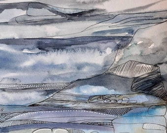 By the Sea, original painting on paper, watercolour and ink and acrylic.