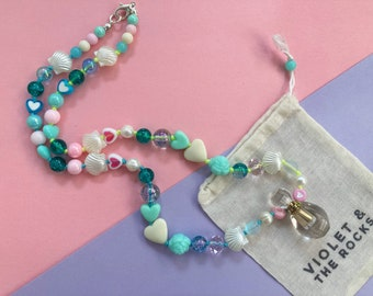 Beaded Necklace with Crystal Perfume bottle | Clear Quartz essential oil fragrance moon water vial