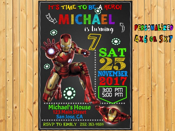 Iron Man Birthday Printable Invitation Avengers Invite