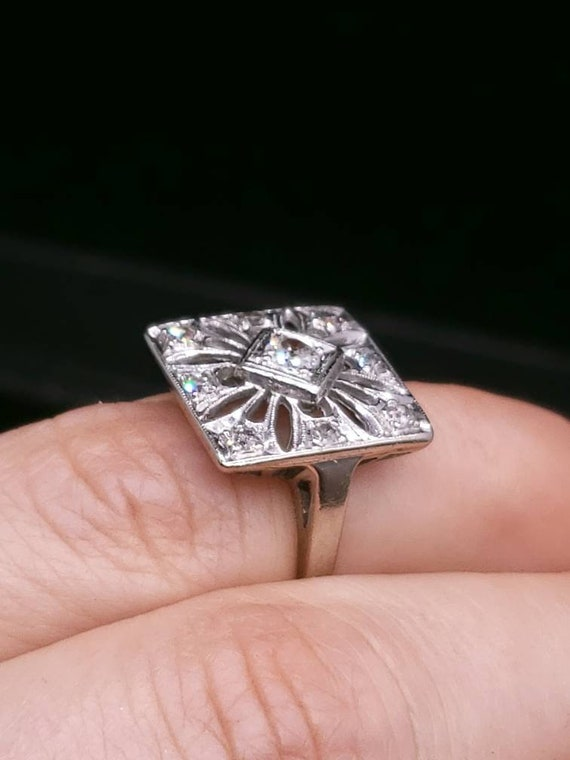 Antique Victorian 14k white Gold And Diamond Enga… - image 8
