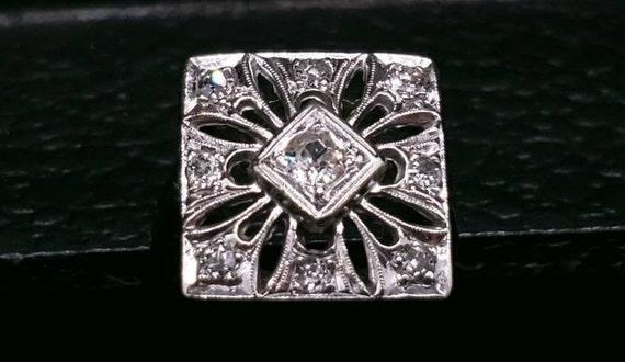 Antique Victorian 14k white Gold And Diamond Enga… - image 2