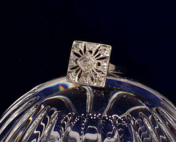 Antique Victorian 14k white Gold And Diamond Enga… - image 1