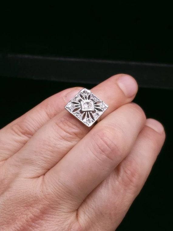 Antique Victorian 14k white Gold And Diamond Enga… - image 5