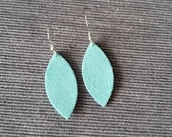 Small Teal Leaf Earring
