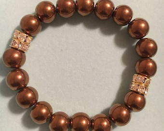 10mm metallic copper stretch bracelet