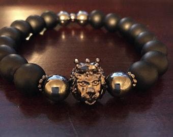 Men's Black Stretch Bracelet with Lion's Head
