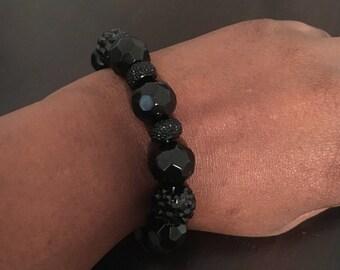 12mm Black stretch bracelet