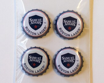 Samuel Adams Boston Lager Craft Beer Bottle Cap Magnet (Set of 4)