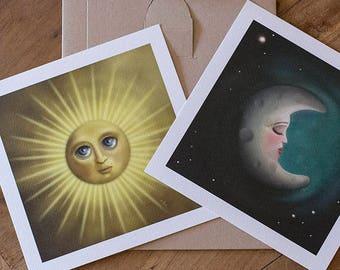 Digital Illustration Double Fine Art Print lowbrow pop surrealism The Sun and The Moon DUAL DANCE
