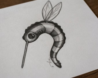 SKETCH GRAPHITE DRAWING on paper pop surrealism, lowbrow art, bug, wings, flying insect