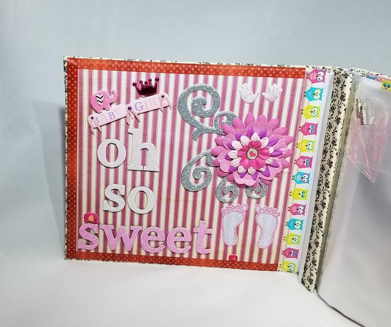 Blank photo album baby girl Personalized first birthday album for girl 8x8 scrapbook album premade Customized baby girl scrapbook album