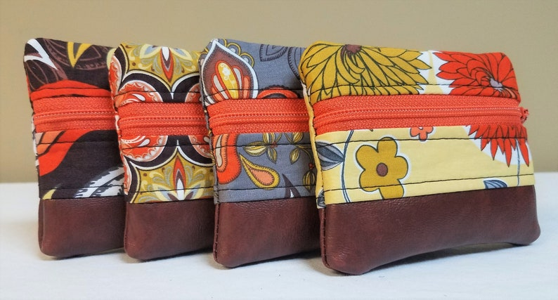 Small Zipper Pouch Coin Purse Earbud and Card Holder Brown and Orange Print