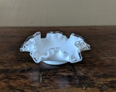 Milk Glass Fluted Silver Crest- Fenton Silver Crest Dish - White Dish Ruffled Clear Glass Edge - Fenton Glass Dish