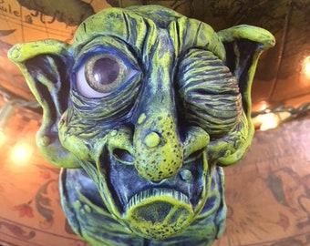 Green Blue Goblin Creature Polymer Clay Sculpture Bust