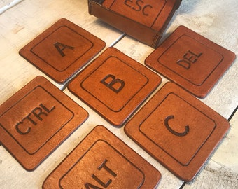 Keyboard Keys Leather Coasters