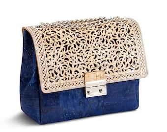 3407b40cd1f7 Blue   Silver cork crossbody bag bright colorful flap