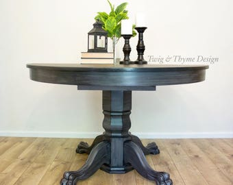 SOLD   Antique Tiger Oak Paw Foot Table With Pedestal Base Hand Painted  Grey And Black Base With Black Stained Top