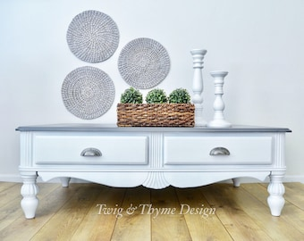 SOLD   Farmhouse Chic Coffee Table With Storage Painted White With Grey  Stained Top
