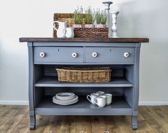 SOLD - Antique Empire Dresser Turned Kitchem Island Grey With Stained Top and Barstools