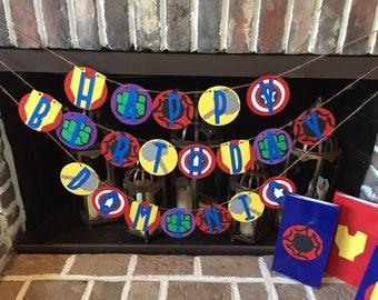 Avengers Birthday Banner, Marvel Birthday Banner, Superheroes Banner