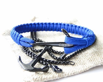"Nautical Anchor Paracord Bracelet ""Black/Blue"" - Anchor Stainless Steel Necklace Included - CBYS"