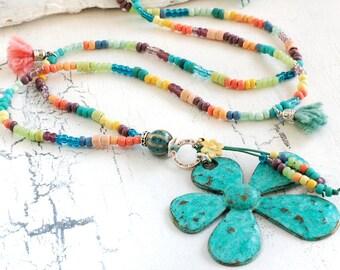 Perlen Kette verschiedenne Farben aus Peru Indio Glas