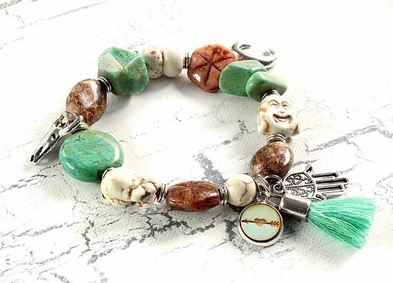 begging bracelet boho bracelet bohemian glass beads summer bracelet noble bracelet rose gold colors blue green turquoise