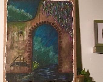 Acrylic Painting Garden Wall on Burlap Canvas