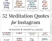 52 Meditation Quotes for Instagram, Yoga Quotes, Instagram Quotes, Social Media Quotes, Yoga Instructor Quotes, Meditation Quotes