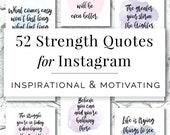 52 Strength Quotes for Instagram, Branding, Social Media Marketing, Instagram Quotes, Motivational, Inspirational Quotes, Instagram Graphics