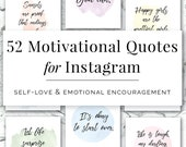 52 Motivational Quotes for Instagram, Social Media Marketing, Self Love, Encouraging Quotes, Hand Lettered, Watercolor, Online Branding