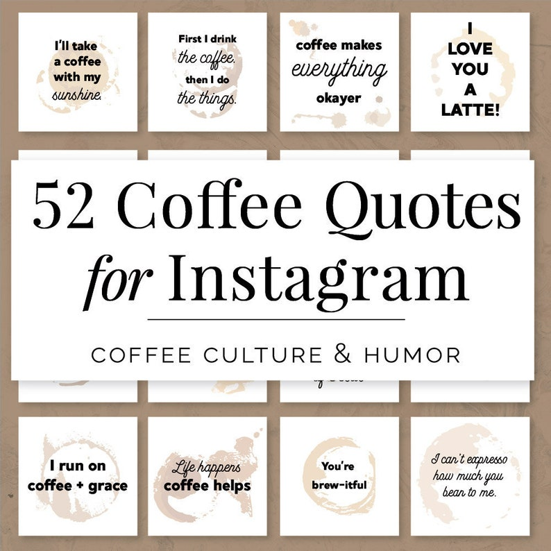Coffee Quotes For Instagram Coffee Quotes For Social Media Etsy