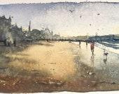 Porty Beach | watercolour Portobello Edinburgh watercolor sea painting dog print card