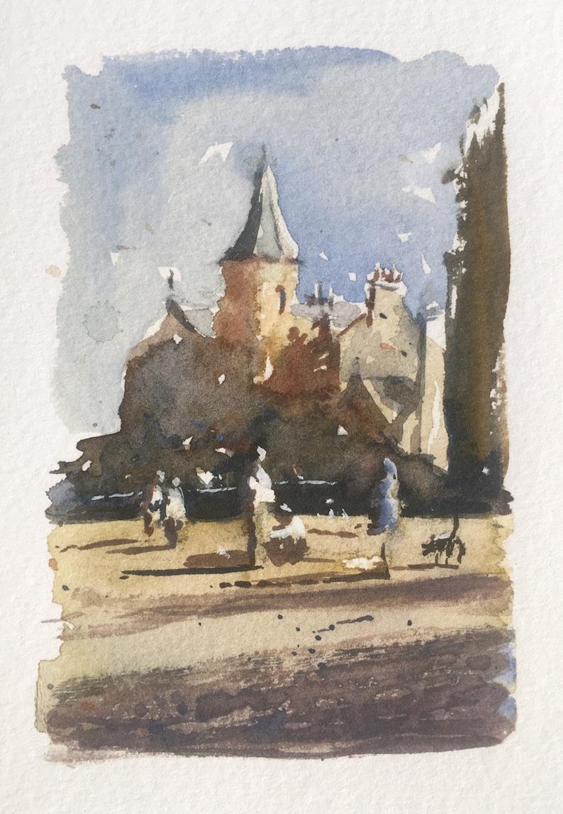Sunday afternoon at Dalriada  watercolor card Edinburgh image 0