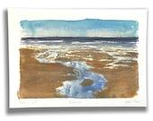 Tide's out - Portobello (sketch) | watercolor Edinburgh beach watercolour seagull print Porty card