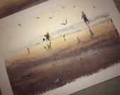 Bring your bucket!   watercolor Edinburgh Portobello Porty beach kids sea seagull watercolour print card