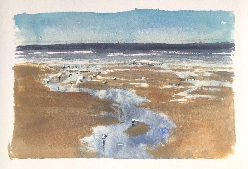 Tides out  Portobello sketch  watercolor Edinburgh beach image 0