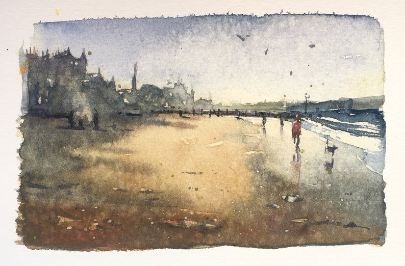 Porty Beach  watercolour Portobello Edinburgh watercolor sea image 0