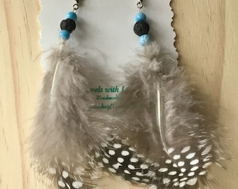 White and Black Naturally Spotted Feather Earrings: Dangle & Drop Earrings