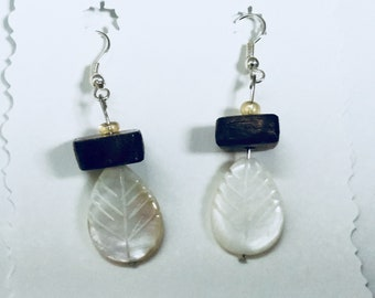 Feather and Black Walnut Earrings