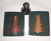 3 piece turned wood kaleidoscope set. 2 in original box, iob, set.